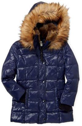 S13 Girls 4-6x) Navy Chelsea Faux Fur Trim Hooded Coat