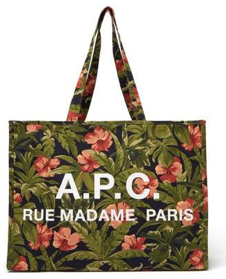 A.P.C. Mahee Hibiscus Print Cotton Tote Bag - Womens - Green Multi
