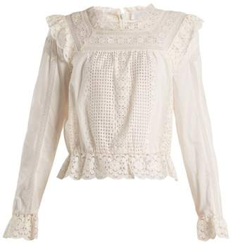 Zimmermann - Laelia Embroidered Lace Top - Womens - Ivory