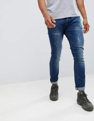 Soul Star Super Soft Stretch Bleached Patch Jeans
