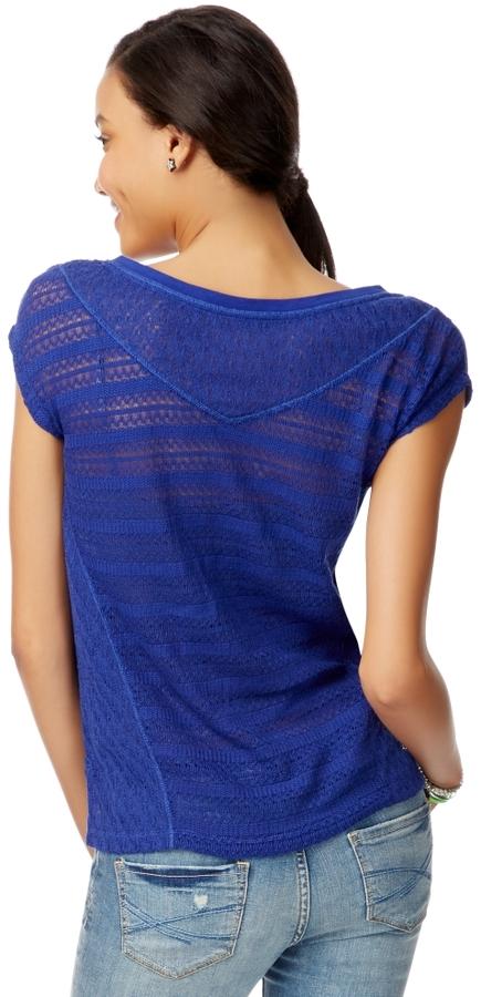Aeropostale Sheer Mixed Knit Top