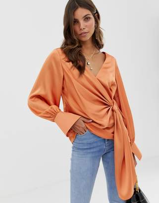Asos Design DESIGN long sleeve v neck top with drape front and cuffs