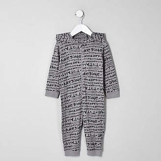 River Island Mini boys grey 'totally awesome' onesie