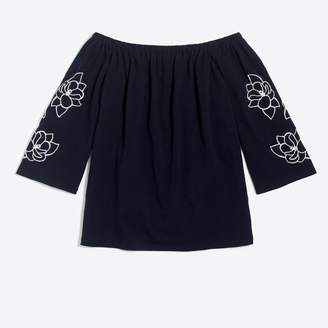 J.Crew Factory Embroidered off-the-shoulder top