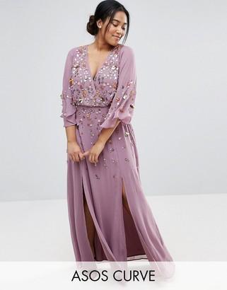 ASOS Curve ASOS CURVE Embellished Kimono Sleeve Maxi Dress $143 thestylecure.com