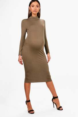 boohoo Maternity High Neck Long Sleeve Bodycon Dress