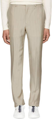 Fendi Beige Pinstripe High-Rise Trousers
