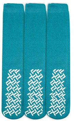 Personal Touch Health Care Apparel Personal Touch Top of the Line Mid-Calf Hospital Slipper Socks, for Adults and Designed for medical hospital patients,(Pack of 3 Teal)