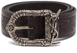 Saint Laurent Embossed Leather Belt - Womens - Black