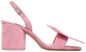 Jacquemus 90mm Square Circle Suede Sandals