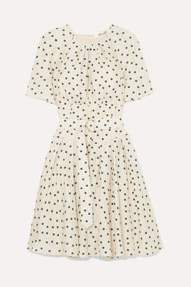 Diane von Furstenberg Belted Polka-dot Silk Dress - Cream