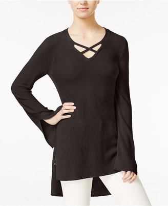 Free People Crisscross Tunic Sweater $98 thestylecure.com