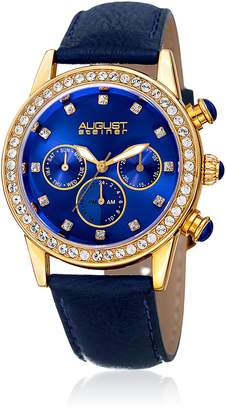 August Steiner Women's Quartz Stainless Steel and Leather Casual Watch, Color: (Model: AS8236BU)