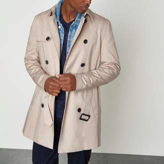 River Island Stone double breasted belted trench coat