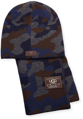 UGG Men's Camouflage Wool-Blend Scarf & Beanie Hat Set $115 thestylecure.com