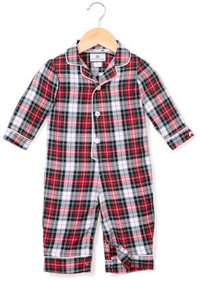 Petite Plume Festive Tartan Collared Coverall, Size 0-24 Months