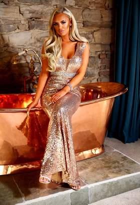 b0c49ecdbde6 Pink Boutique Spell Bound Rose Gold Sequin Maxi Dress