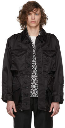 Maison Margiela Black Nylon Distressed Field Jacket