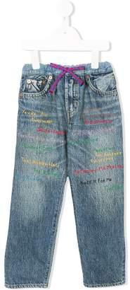 Denim Dungaree embroidered straight-leg jeans