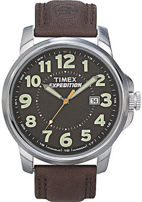 Timex Expedition Field Metal Elevated Mens Brown Leather Strap Watch T449219J