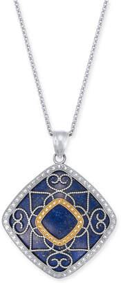 "Macy's Lapis Lazuli (26mm) Filigree 18"" Pendant Necklace in Sterling Silver & 14k Gold"