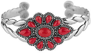 American West Sterling Red Coral Cluster Cuff B