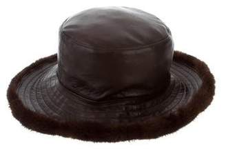 J. Mendel Mink Fur-Trimmed Leather Hat
