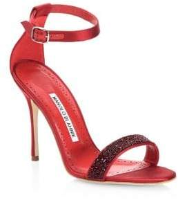 Manolo Blahnik Chaos Crystal-Embellished Open-Toe Leather Sandals