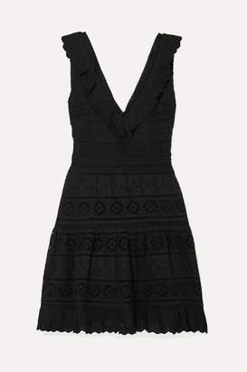 Alice + Olivia Alice Olivia - Cantara Ruffled Broderie Anglaise Cotton Mini Dress - Black