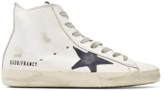 Golden Goose White and Navy Francy High-Top Sneakers