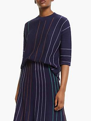 Armedangels Luccaa Vertical Stripe Jumper, Evening Blue