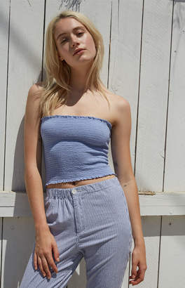 John Galt Blue Smocked Tube Top