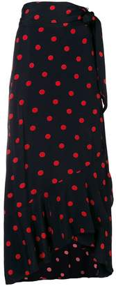 Ganni asymmetric polka dot skirt