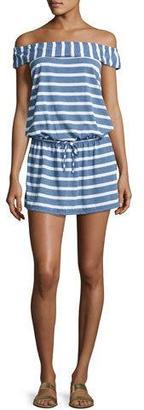 Splendid Cottage Off-the-Shoulder Striped Chambray Coverup Dress $98 thestylecure.com