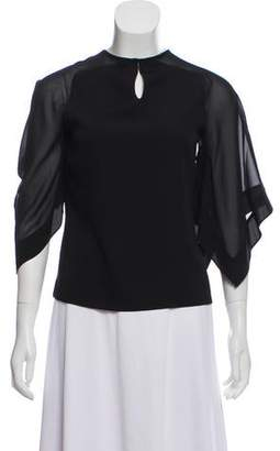Halston Silk Draped Blouse