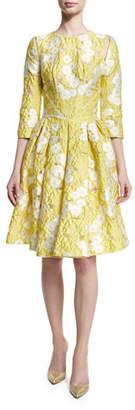 Zac Posen Floral 3/4-Sleeve Fit-&-Flare Dress, Lemon Daisy $1,990 thestylecure.com