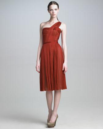 J. Mendel Tulle One-Shoulder Dress