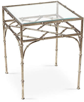 One Kings Lane Woodmont Glass-Top Side Table - Silver