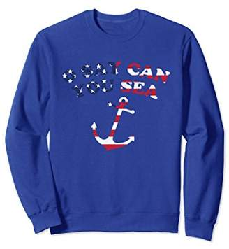 O Say Can You Sea Anchor American Flag Sweatshirt 4th July