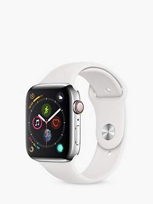 Apple Watch Series 4, GPS and Cellular, 44mm Stainless Steel Case with Sport Band, White