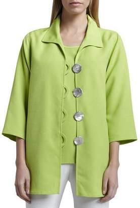 Caroline Rose Shantung Big-Button Shirt