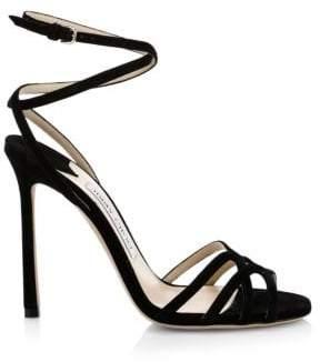 025eb11ba ... Jimmy Choo Women s Mimi Suede Wrap-Around Sandals - Black - Size 35 (5