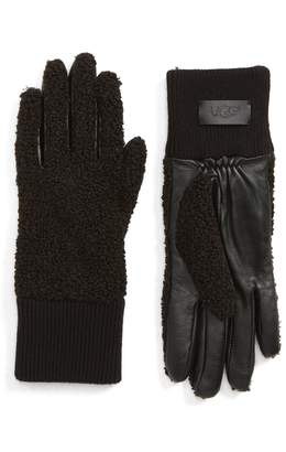 UGG Collection Faux Shearling Touchscreen Compatible Gloves