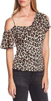 Vince Camuto One-Shoulder Leopard Print Top