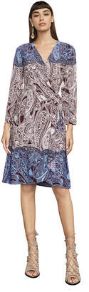 BCBGMAXAZRIA Adele Paisley Wrap Dress