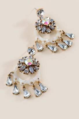 francesca's Kendall Crystal Statement Earrings - Ivory