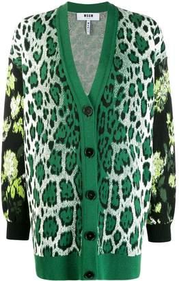 MSGM oversized leopard print V-neck cardigan