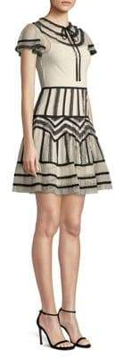 RED Valentino Point D Esprit Georgette Tubulars and Lace Ribbons Dress