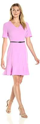 Lark & Ro Women's Short Sleeve A-line Peplum Bottom Dress with Belt
