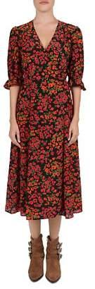 The Kooples Camelia Floral-Print Silk Midi Wrap Dress